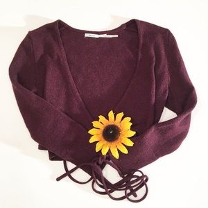 Urban Outfitters Kimchi Blue maroon crop wrap med.